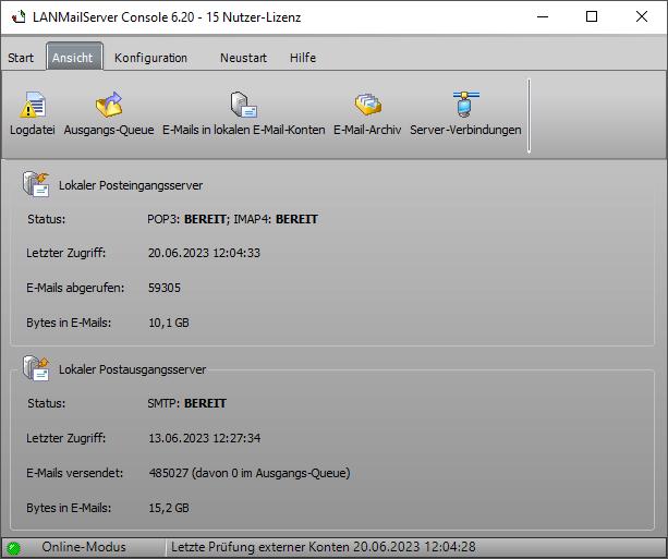 Screenshot vom Programm: LANMailServer